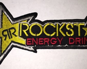 "Rockstar Energy 5""x2""  iron on  or sew on patch"