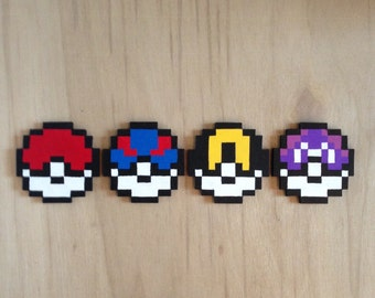 Handmade wooden pixelated poke balls from pokemon. 8Bit Pixel Art. Coasters