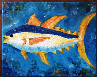 11x14 original yellowfin tuna fish acrylic painting on canvas