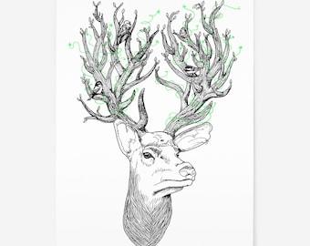 Stag Illustration - Fantasy Art Print - Ghibli Inspired Forest Animal - Woodland Stag Head - Birds  - Deer - A3 Screenprint - Tree Spirits