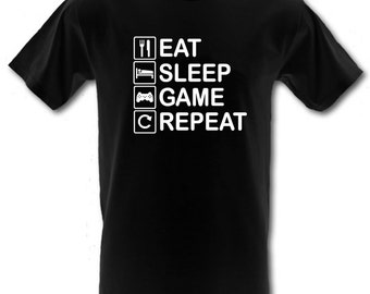 Eat Sleep Game Repeat Heavy Cotton t-shirt All Sizes Small - XXL (kids and adults)