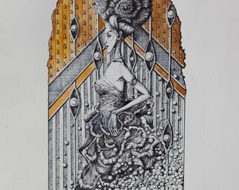 RISING, detailed ink drawing,hand made,detailed art work,drawing by artist katarina vasickova,art gift