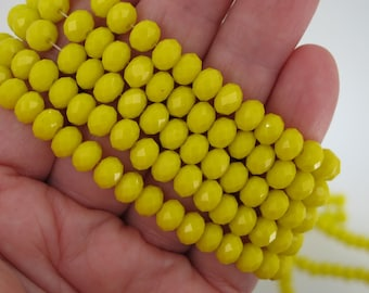 Neon Yellow Crystal faceted beads 4x6mm. Full strand 17.7''. 100 pcs loose beads. DIY supplies