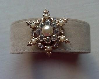 Snowflake Pearl and Rhinestone Leather Cuff