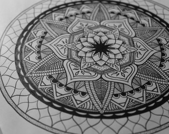 "Mandala Art Print Signed Limited Edition ""Jack"" Sacred Geometry Zentangle Decoration Poster"