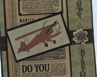 Vintage prop plane Happy Birthday Card