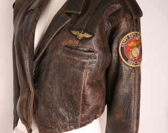Woman jacket, AVIREX leather jacket vintage TOP GUN woman