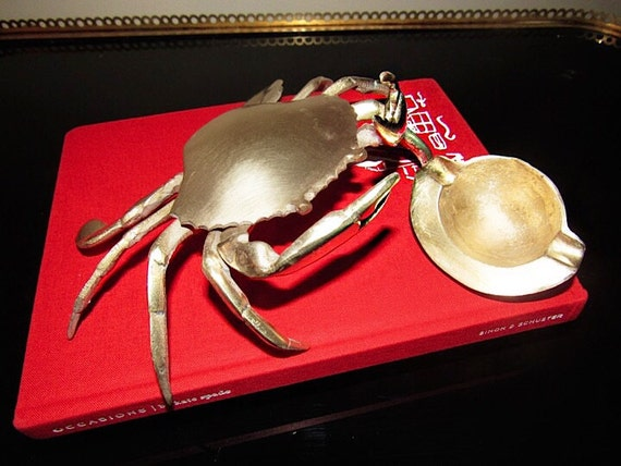 Beautiful Vintage Large Brass Crab Ashtray Ring Box Trinket