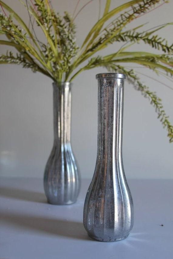 Pair of mercury glass tapered vases home by harstadesignscraft