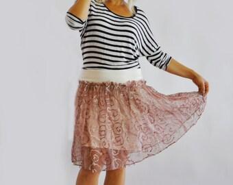 Casual Silk skirt/Rose Tea taffeta skirt/Woman skirt Knee silk skirt/Aline skirt/Extravagant day knee skirt/Handmade silk skirt/