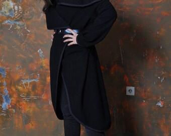 Woman black wool coat/Casual coat jacket/Black long coat jacket/Handmade wool coat Cap/Oversize coat/Long sleeves jacket/Asymetrical coat