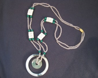 PRICE REDUCED *** Jade Rose Quartz Malachite Ivory Colored Carved Pieces Pendant Necklace 17""