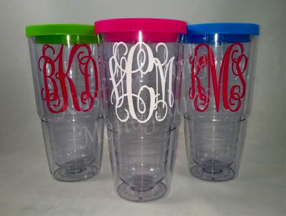 24 oz monogrammed double wall insulated clear acrylic tumbler