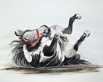 original watercolour and ink painting, horse, equine, horse rolling, beautiful horse