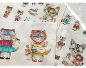 "Cat Fabric Cotton Linen Fabric Curtain Quilting Bags Cat Fabric One Panel 16""X55"" C05"