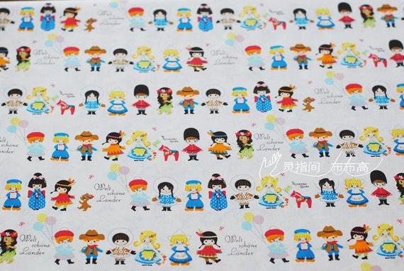Children 39 s fabric linen cotton happy holiday children for Children s clothing fabric by the yard