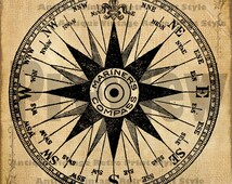 MARINERS STAR COMPASS Nautical Ocean Graphic Printable Image Antique Victorian Digital Clip Art for Transfers