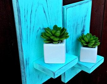 Set of Two-Floating Shelf -Wall Sconces- Rustic Sconces-  Bookshelves - Simple Shelf- Shelves- Art Decor-Wood Shelf -Set of Two Shelves