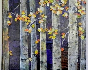 Fall Aspens Torn Paper Collage Original Collage, Fall Painting, Torn Paper Collage OOAK, Original Fall Painting, Juried Artist Painting