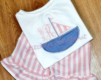 Girls Personalized Monogrammed Sailboat Shirt- Beach- Summer- Spring- Ruffle Shorts- Toddler- Baby- size 6m, 12m, 18m, 2t, 3t, 4t, 5t, 6