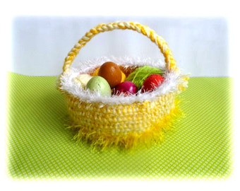 Crochet Easter Basket.  Yellow and white. Can also keep fruits or  yarn.