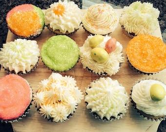 Mini Springtime Cupcake Collection (Vanilla or Chocolate w/ Vanilla Buttercream Frosting)