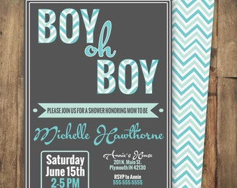 Chevron baby shower invitation, boy oh boy, aqua and teal, pattern, gray and teal, baby boy, typographic