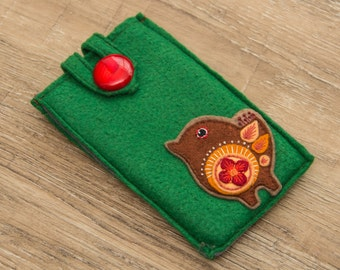 Felted Phone Case with Bird Felt Phone Pouch Felt Phone Purse Felt caja del TeléfonoTelefono Caso in Feltro Чехол для Телефона Фетровый
