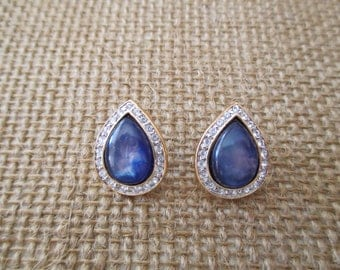 Vintage Costume Blue Teardrop Earrings with Diamond Rhinestones