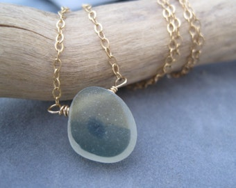 Multi Color Seaglass Pendant - Sea Glass - English - Picture Glass - Rare Find - Frosted Sea Glass - Large Pendant - Forest Green - Gold