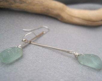 Sea Glass Earrings -Seafoam Green - Beach Glass - Seaglass Dangles - Stick Earrings - Hammered Sterling - Wire Wrapped