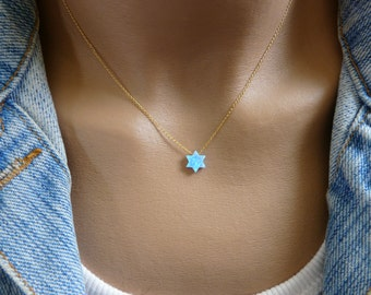 Magen David, Star of David necklace, Blue opal necklace, Jewish jewelry, Gold Fill necklace, Ball necklace, Opal jewelry