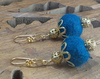 Pom-Pom Earrings  wool felt and filigrees pom-pom gold plated earrings / cobalt blue