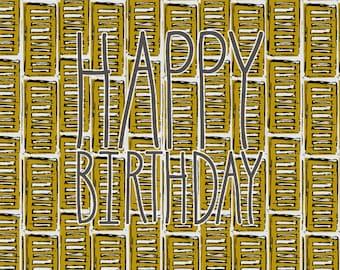 Greetings card, blank card, art design card, happy birthday, retro shutter, print, surface pattern, surface design, buildings, illustration
