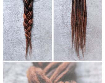 Wool Dreadlocks- long, dark brown