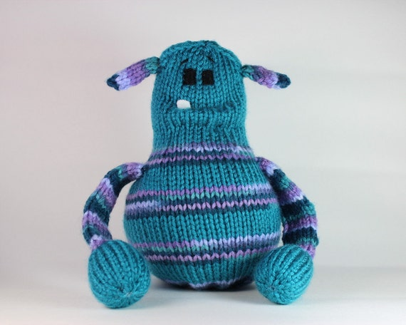 Teal Purple Knitted Monster Rattle Baby Toys Baby Rattle