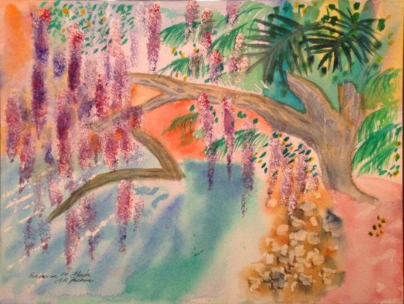 "Emerson Point Preserve  Florida by Canadian artist T.R. Jackson impressionist style art colourist original 12x16"" water colour 300lb arches"