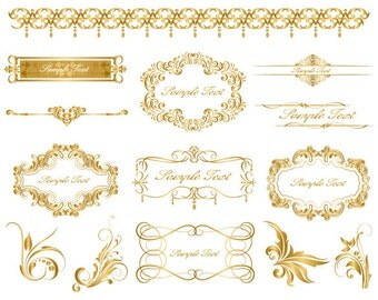 Instant Download Golden Frame Border Clipart Gold Digital Flourish Swirl Frame Clip Art Golden Vintage Frame Scrapbook Embellishment 0038