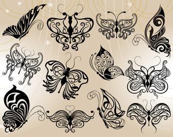 Digital Butterfly Clip Art Black Butterfly Clipart Digital Flourish Swirl Butterfly Scrapbooking Butterfly Decor 0122