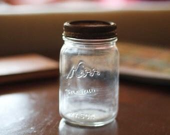 Vintage 1930's Round Square Kerr Mason Jar (Pint)