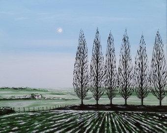 Frosty Morning Original Acrylic Painting Poplar Trees on deep edge canvas 50 x 50cm