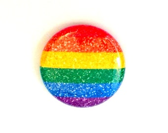 "1"" Glitter Gay Pride Button - Glitter Pride Magnet - Gay Pride Button - Gay Pride Magnet - LGBT Pride Button - LGBT Button"