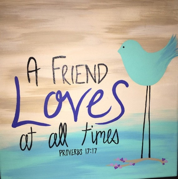 Items similar to A friend loves at all times 12x12 Canvas beach ...