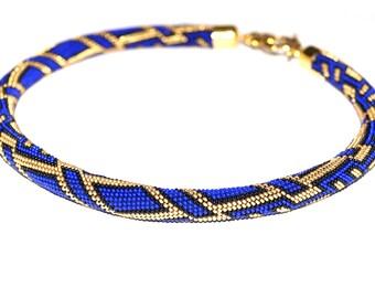 "Bead crochet necklace ""Blue pleasure -2"""
