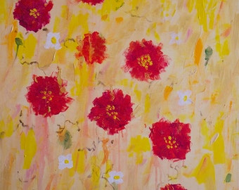 PRINT Yellow with Scarlet Flowers Original Painting