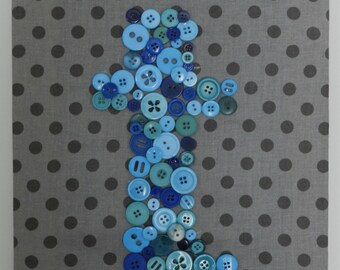 Nursery Monogrammed Button Art Canvas