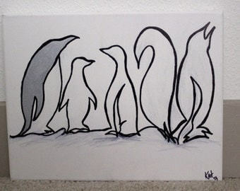 Penguins in black and white on canvas - Sale!