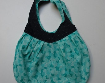 handbag ball reversible black and green-blue woman