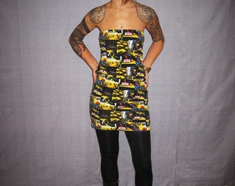 strapless yellow taxis pattern jersey women