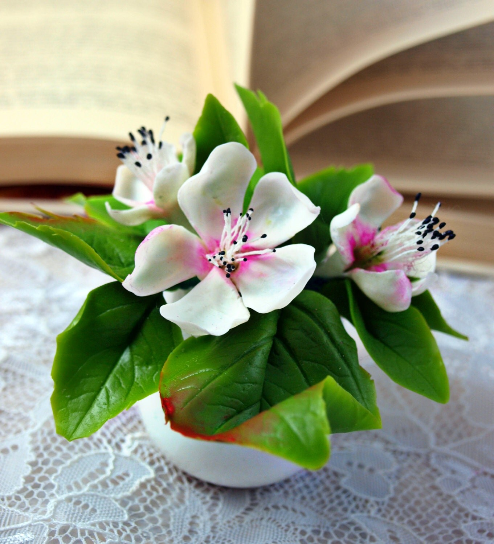 Flower Arrangement Cherry Blossom Cold Porcelain By